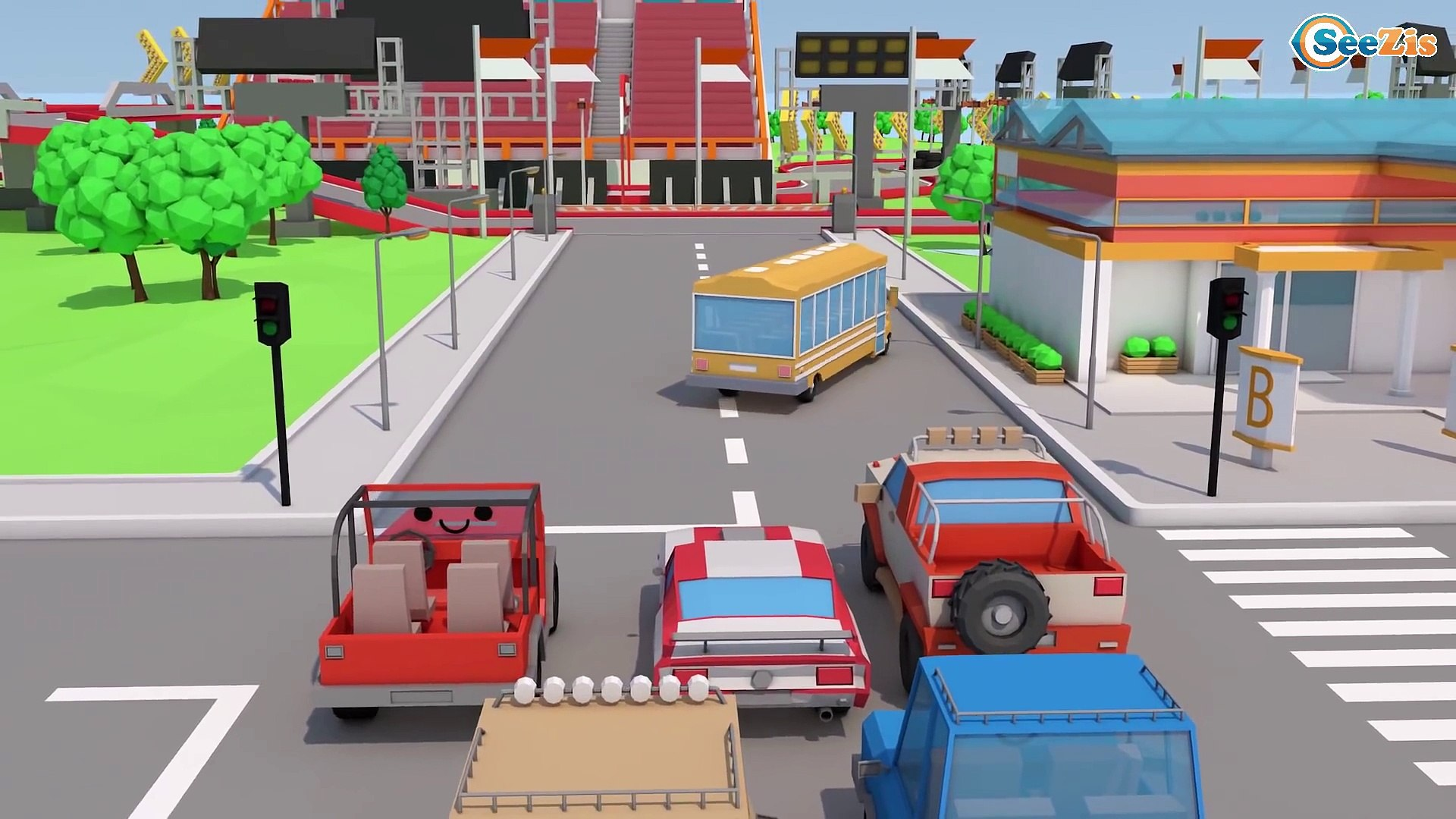 Ambulance Car Rescue in the city w Police Car & Race 3D Cars Cartoon Animation Cars & Truck
