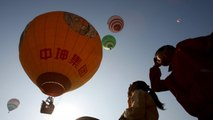 Hot air balloons show breathtaking view over Karst Site in China