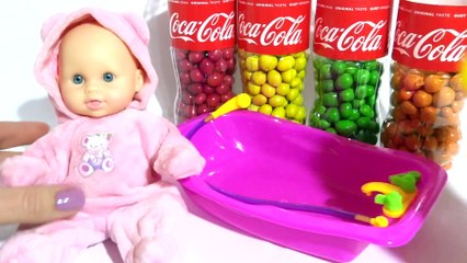 Baby Doll Bath Time Learn Colors with M&Ms Coca Cola Bottle Finger Family Song Nursery Rhymes