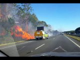 Warning downgraded for blaze near Bruce Highway but residents kept away