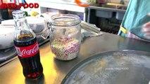 Coke coca cola w/ PEPSI soft drink Ice cream VS Yogurt strawberry Ice cream rolls challeng