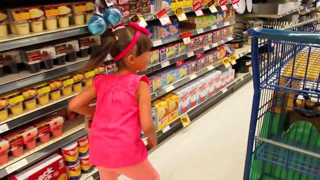 Cute Girl Doing Shopping ♡ Kids Size Car Shopping Cart ♡ Nursery Rhymes-AxU29QfLoh4