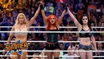 Team PCB (Paige, Charlotte, Becky Lynch) vs Team Bella (Brie Bella, Nikki Bella, Alicia Fox) vs Team B.A.D. (Sasha Banks, Naomi, Tamina) - Three-team elimination match - SummerSlam (2015) - Team PCB vs Team B.A.D. vs Team Bella - WWE