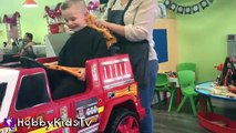 HobbyKids Get Haircuts in Toy FireTruck! Dinosaur + Candy Surprise HobbyKidsTV