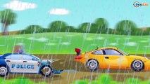 Rápido Coche de Policía y Carros de Carreras GRANDE problemas de ruedas Dibujos animados para niños