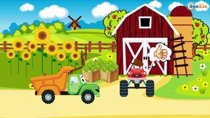 TRACTOR con Carros De Construcción: Grúa y Camion   Dibujos Animados Para Los Niños