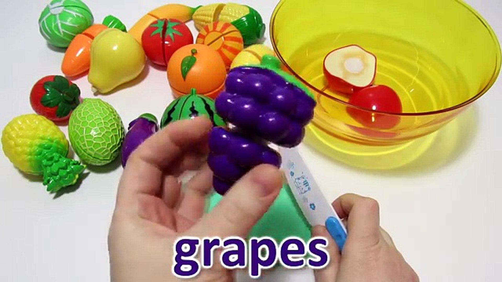 Учим и режем овощи и фрукты на липучках Обучающее видео для детей На русском и английском