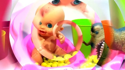 Crying Baby doll bath time w Dinosaur -  Learn colors Finger Family Nursery Rhyme