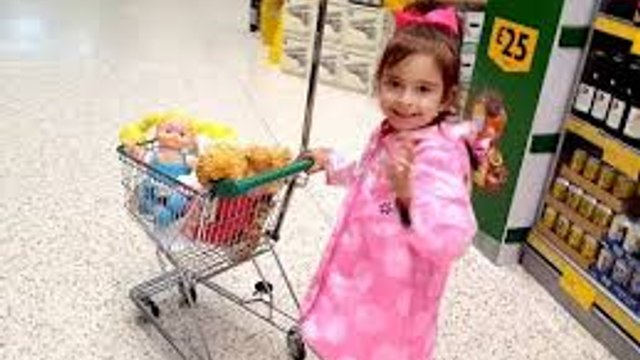 Doing Grocery Shopping with Baby Dolls / Kids Size Shopping Cart