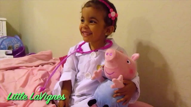 DOC MCSTUFFINS TUMMY ACHE CHECK-UP ON PEPPA PIG ~ Little LaVignes Clown and Panda