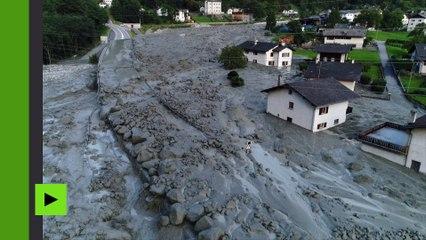 En Suisse, un village noyé dans la boue après un éboulement majeur