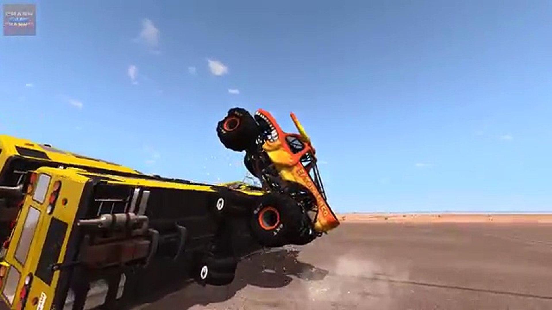 Аварий водить машину высокая трамплины монстр скорость грузовая машина beamng 1