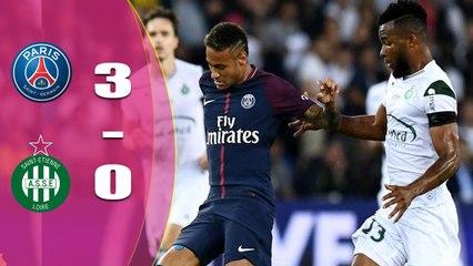 Edinson Cavani scored twice as Paris St-Germain beat Saint-Etienne to make it four wins out of four in Ligue 1.