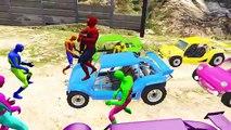 Couleur des voitures pour enfants dans homme araignée dessin animé les couleurs pour enfants à Apprendre apprentissage