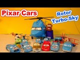 Pixar Cars Unboxing Toy Review of Rotor TurboSky with Lightning McQueen, Chick Hicks The King and Ma