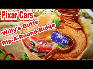Pixar Cars Willy's Butte Rip-A-Round Ridge Playset Unbox and Assembly with McQueen Cars Rip Lash Rac