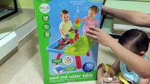 Play Go Sand and Water Table - Playing with kinetic sand with funny laughing kid