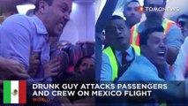 Drunk airline passenger attacks crew: Aeromexico flight makes emergency landing - TomoNews