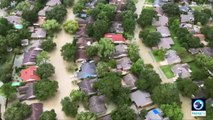 Aerial footage shows extent of Harvey flooding