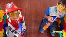 Papa la famille amusement amusement pistolet enfant récréation protéger le le le le la contre guerre avec Nerf fort ryan toysreview