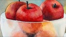 Peinture aquarelle pomme