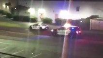 Une Lamborghini drift autour d'une voiture de police avant de prendre la fuite