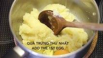 Crème bouffées des instructions sur la façon de rendre la croûte croustillante alimentaire froissée profiterole