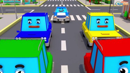 The Blue Police Car - Cars & Trucks Cartoons - Vehicle & COLOURS Car for children!