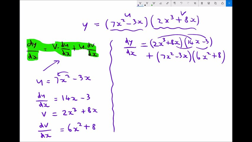 The Product Rule for Differentiating the Product of Two Functions