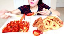 ASMR Eating Crunchy Onion Rings and Spicy Rice Cakes (Ddeokbokki) 바삭바삭 양파 튀김 & 쫀득쫀득 떡볶이
