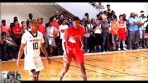 Shaq gets on his son Shareef O'neal during a workout