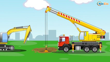The Yellow Bulldozer digging | Construction Trucks & Service Vehicles Cartoons for children