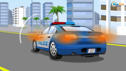 Cop Cars Kids Video - The Police Car w Real Cars for kids | Learn Vehicles Cartoon for children