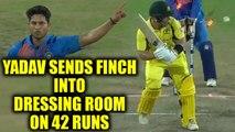 India vs Australia 1st T20I : Aaron Finch out for 42 runs, Kuldeep Yadav strikes | Oneindia News