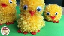 Easy Pom Pom Chicks DIY - How to make a pom pom with Fingers - Easter DIY