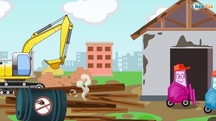 The Big Truck and The Crane   Construction Trucks & Service Vehicles Cartoons for children