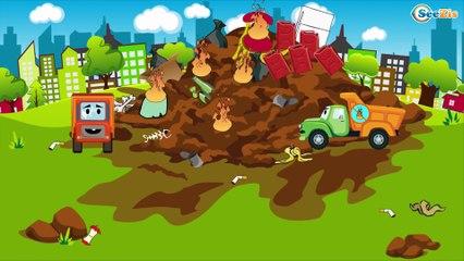 El Camión es Rojo y La Excavadora infantiles - La zona de construcción - Carritos Para Niños