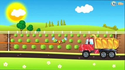 El Camión de bomberos es Rojo La zona de operación - Dibujo animado de coches - Carritos Para Niños