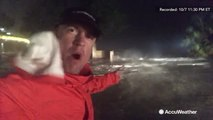 Reed Timmer captures intense storm surge as Hurricane Nate's eye wall pushes through Biloxi,Mississippi