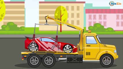 Yellow & Red Racing Cars and Taxi - The Big Race in the City of Cars Cartoons for Children
