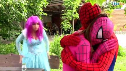 Spiderman & Frozen Elsa In Real Life! w/ Ironman vs Batman, Pink Spidergirl, Hulk & Bad Baby