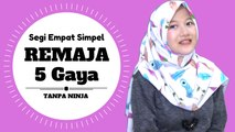 Hijab Remaja 5 Gaya Simpel Dengan Segi Empat Motif Cantik Untuk Sehari - hari #NMY Hijab Tutorials