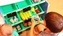 Grocery Store Food Stand Market Toy Shopping + NEW PJ MASKS TOYS & Cash Register + Cookies