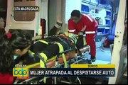 Surco: mujer quedó atrapada dentro de vehículo tras despistarse