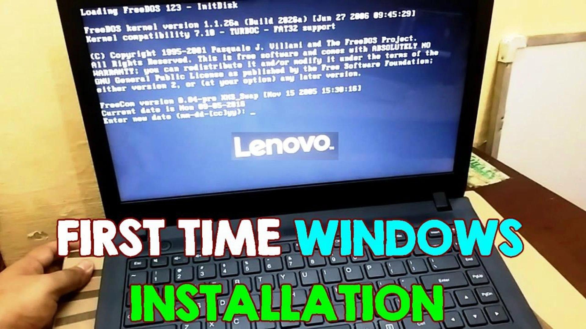 Install Windows on Lenovo FreeDos NO OS Laptops, BIOS Setup (First Time  Installation) Ideapad 100