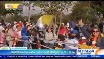 Fieles madrugaron al parque Simón Bolívar para la eucaristía que ofrecerá el papa Francisco en Bogotá, Colombia