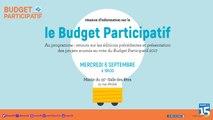 Reunion publique Budget Participatif dans le 15e arrondissement du Mercredi 6 Septembre 2017