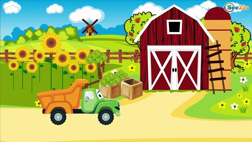 Le Tracteur Rouge et Le Camion - Voitures de construction - Vidéo Éducative de Voitures Pour Enfants