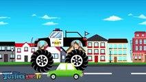 Voiture enfants pour enfants Apprendre laisse monstre un camion vidéo contre Sport de police p60 colo