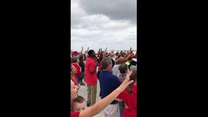 Praying and Singing Hurricane Irma Away on a Florida beach